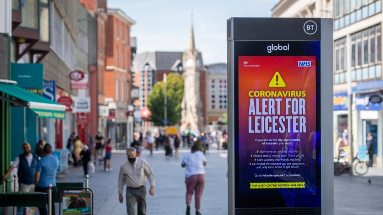 Coronavirus alert messages on a sign in the centre of Leicester, as a decision is due to be made on whether to lift the lockdown restrictions in the city.