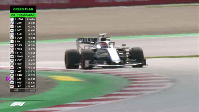 Williams' George Russell ends up on the gravel on Lap Five of the Styrian Grand Prix