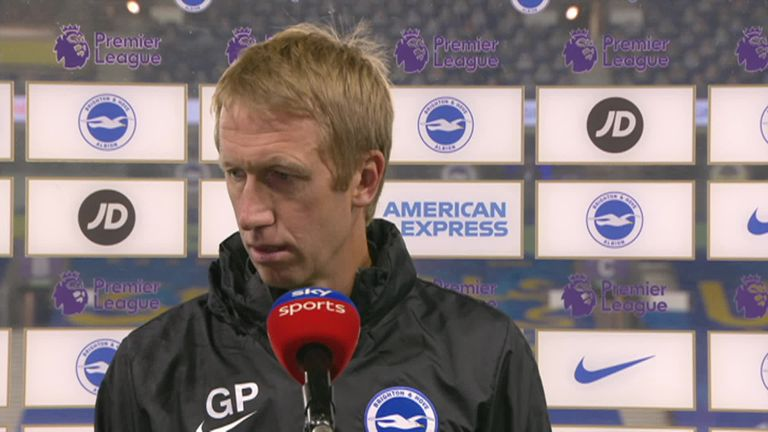 Graham Potter was disappointed that Brighton 'gifted' Liverpool a couple of goals but was pleased with the bravery and personality that the team showed