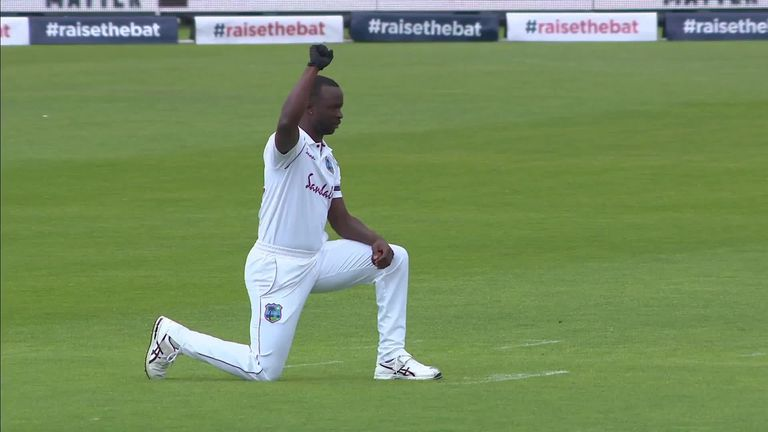 England and West Indies players took a knee in support of the Black Lives Matter movement