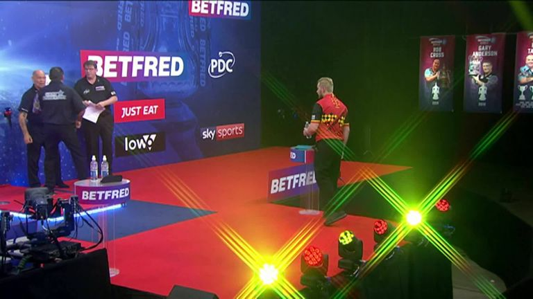 Watch the moment Dimitri Van den Bergh won World Matchplay with a victory over Gary Anderson at the Marshall Arena.