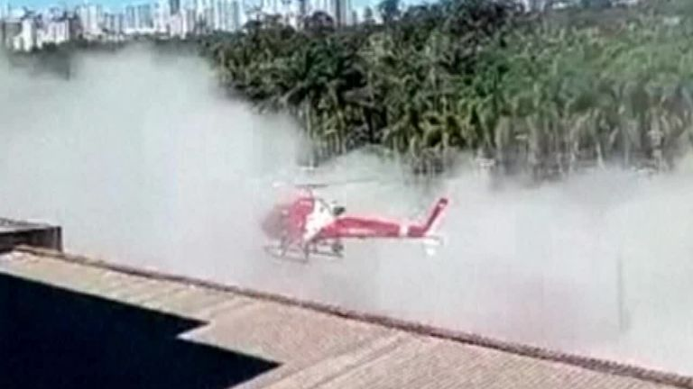 A firefighters helicopter crashed after getting too close to a building leaving one injured.