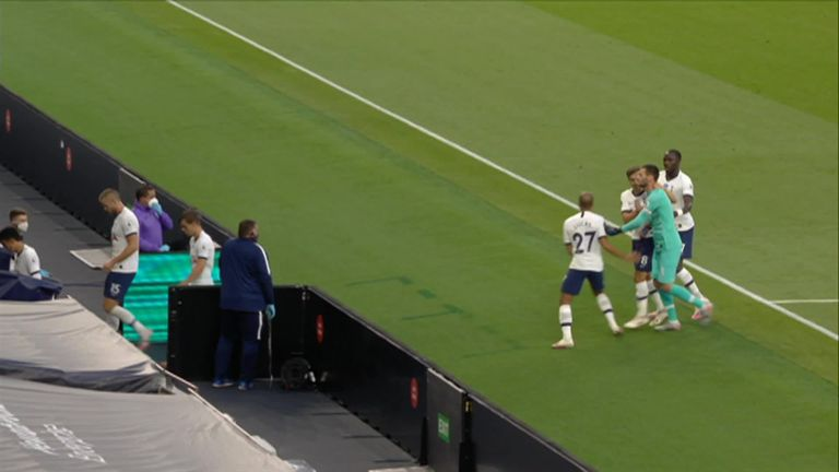 0:32                                               Tottenham captain Hugo Lloris and Heung Min Son had to be separated by team-mates as they left the field for