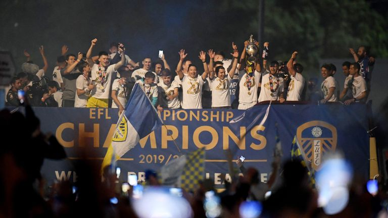 Leeds have defended their decision to allow players to celebrate with the Championship trophy on an open top bus outside Elland Road