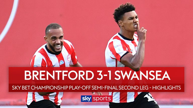Highlights of the Sky Bet Championship play-off semi-final second leg match between Brentford and Swansea.