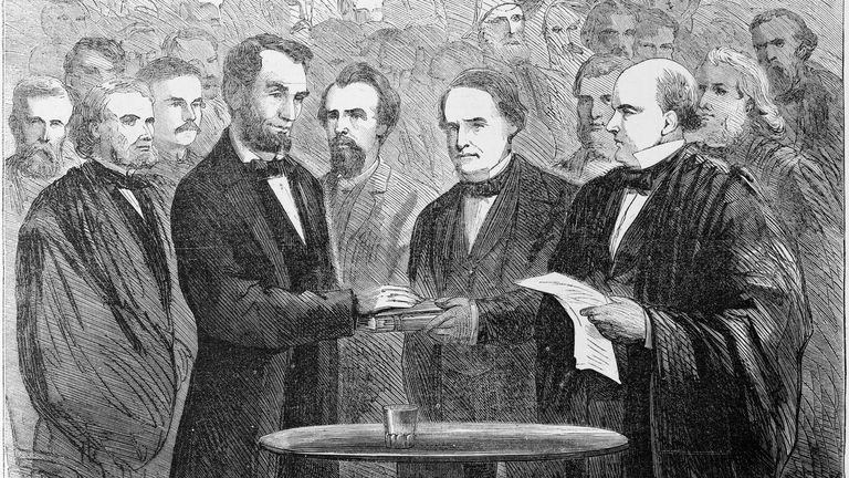 This wood engraving depicts chief justice Salmon Chase (r) administering the oath of office to Abraham Lincoln in 1865