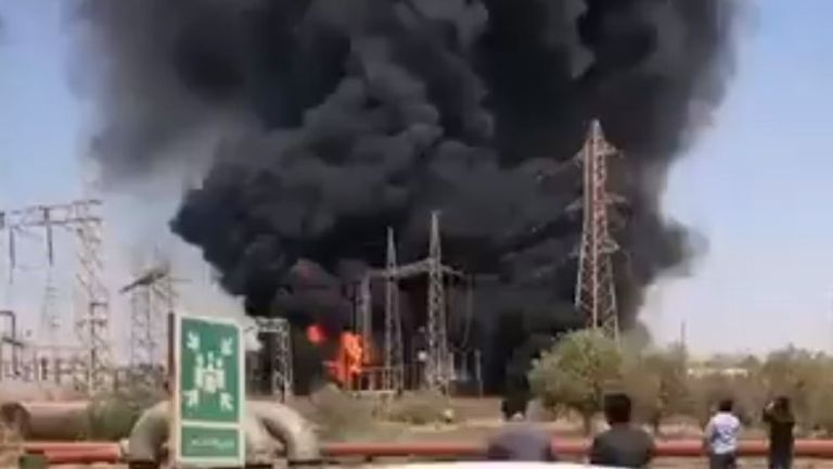 Ahvaz, Iran - fire knocked out a power station transformer