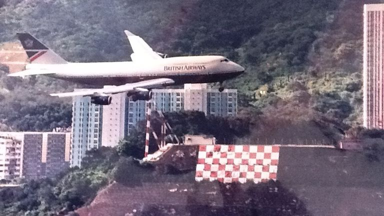 This was taken as Alastair flew his 747 into Kai Tac airport in Hong Kong with the famous checkerboard aiming point