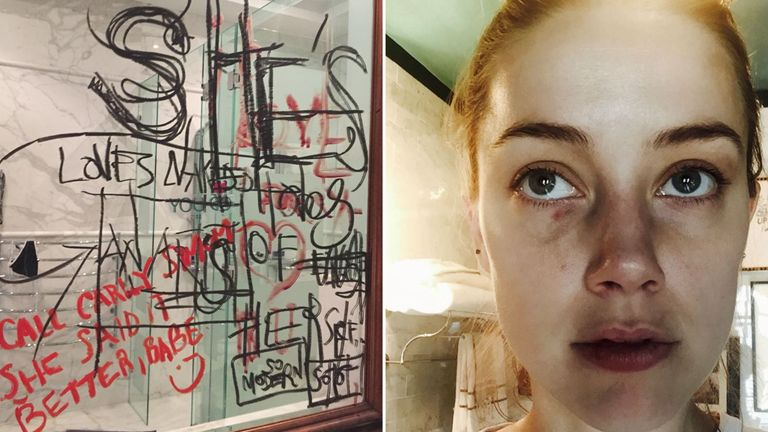 Photos released at Johnny Depp's libel trial showing a mirror in his house and Amber Heard's bruised face