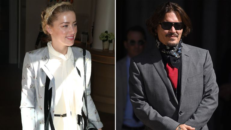 Amber Heard and Johnny Depp pictured as they arrived at the High Court