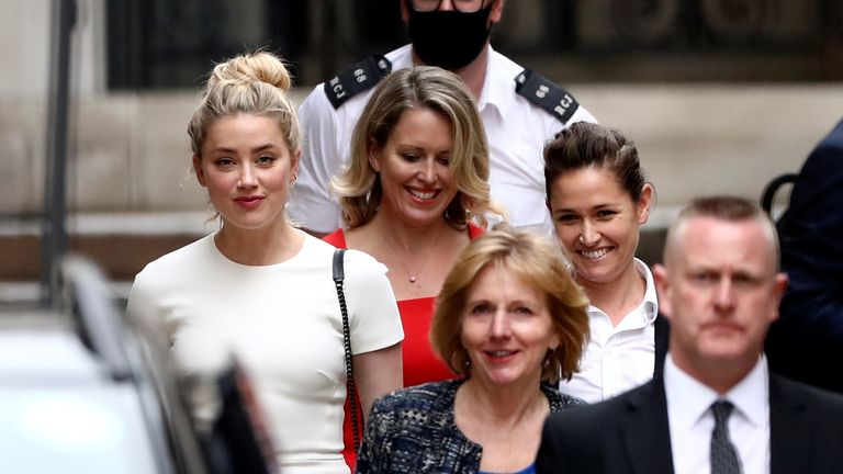 Amber Heard leaves the High Court on 27 July
