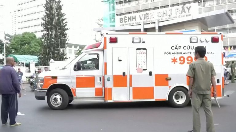An ambulance took the 42-year-old to the airport