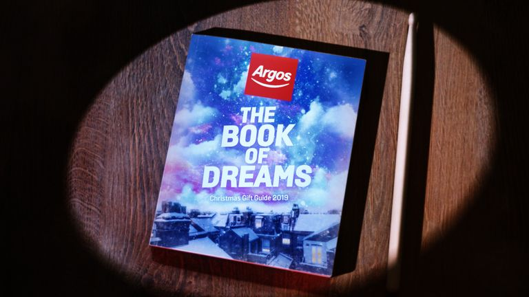 Undated handout photo issued by Argos of the much-loved catalogue taking centre stage in the retailer's highly anticipated 2019 Christmas advertising campaign, launching tonight to millions of viewers across the UK in what is expected to be the first blockbuster Christmas commercial from a major British retailer this year.