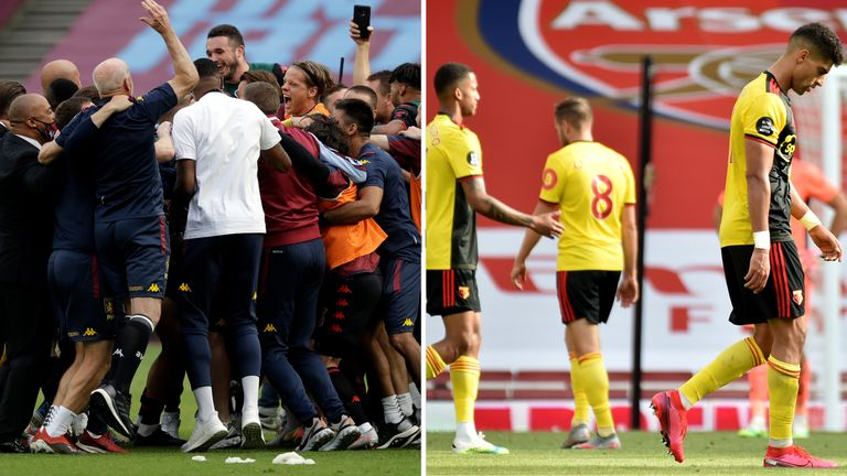 Aston Villa players and staff celebrate Premier League survival (L), while relegated Watford's players were left despondent