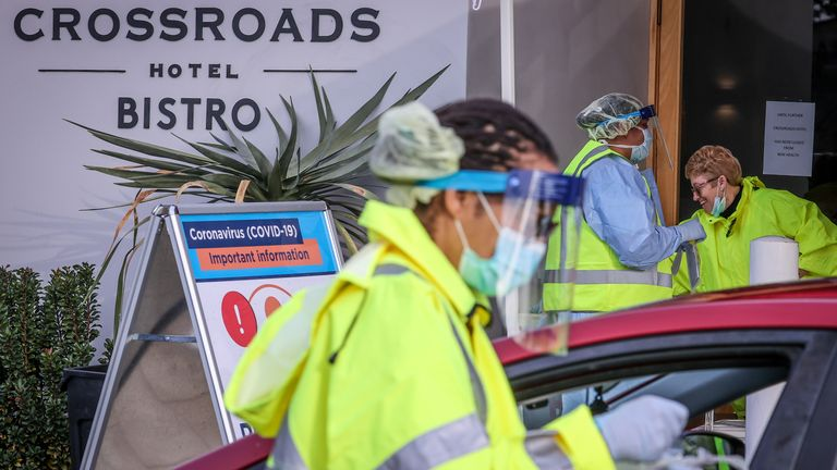 The Crossroads Hotel has been temporarily shut and a pop COVID-19 testing clinic has been set up on site