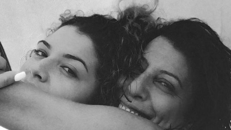 Azra is pictured with her mother Nevres (right)