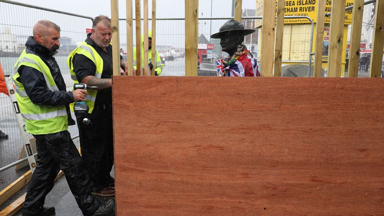 The statue of Lord Baden-Powell has had its boarding removed