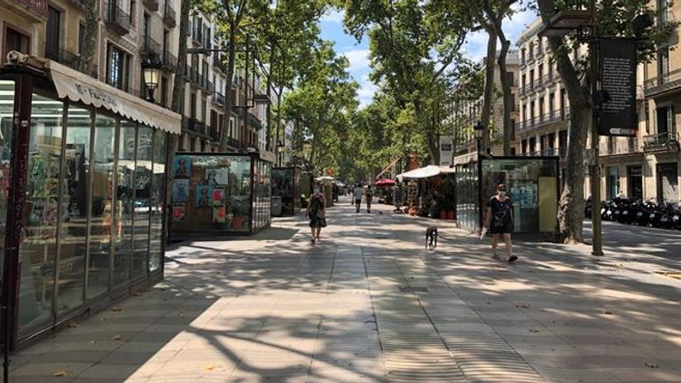 Las Ramblas in Barcelona is usually packed with tourists