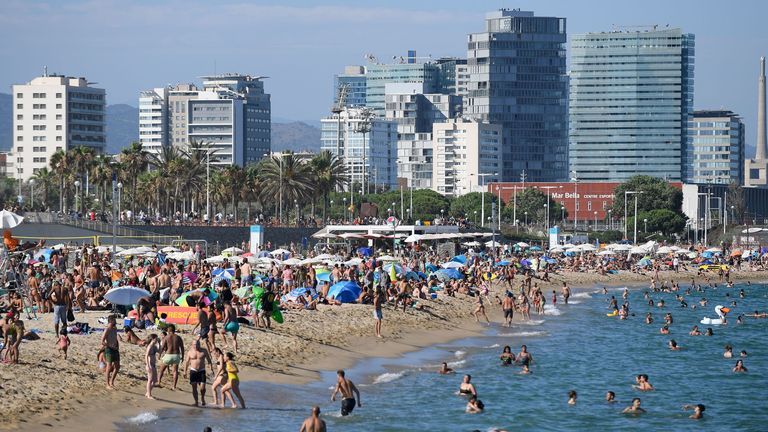 People flocked to the Bogatell beach in Barcelona on Sunday