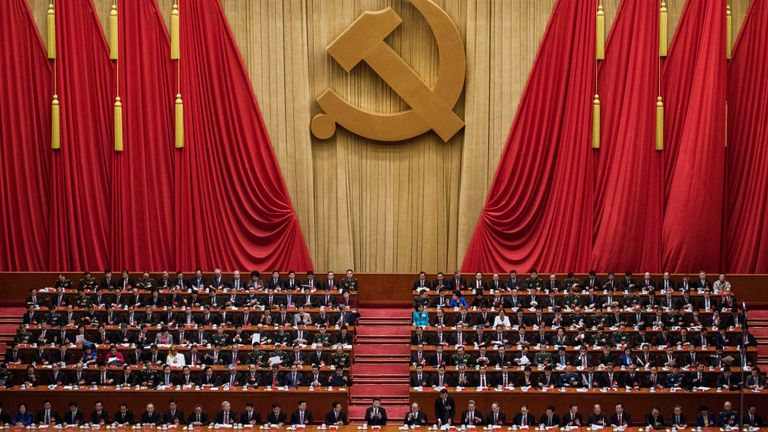 Senior members of the Chinese government gather at the Great Hall Of The People in Beijing