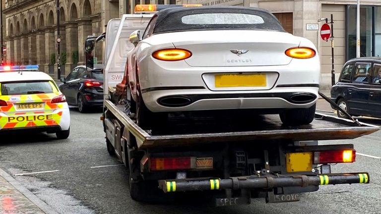 The car is towed away. Pic: GMP