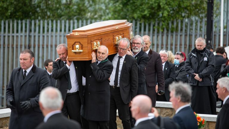 Belfast, Northern Ireland. 30th June, 2020. A large crowd attended the commemorative ceremony of Veteran Irish Republican Bobby Storey. Gerry Adams delivered the oration at the Republican plot in Milltown Cemetery. Credit: Bonzo/Alamy Live News - Image ID: 2C52M5P (RM)