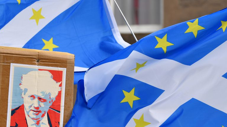 PERTH, SCOTLAND - JULY 05: A Pro-EU and Pro-Independence group protests ahead of the Scottish Hustings held by Jeremy Hunt and Boris Johnson on July 5, 2019 in Perth, Scotland. Boris Johnson and Jeremy Hunt are the final two MPs left in the contest to replace Theresa May as leader of the Conservative Party. The winner will be announced on July 23rd 2019 and will also take up the post of Prime Minister of the UK and Northern Ireland (Photo by Jeff J Mitchell/Getty Images)