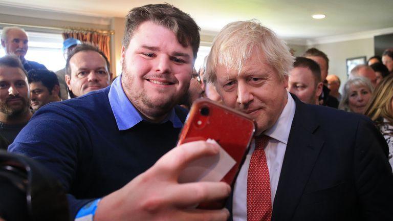 Boris Johnson on a visit to Sedgefield in December