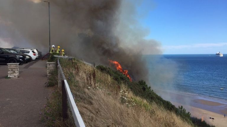 The fire spread from a beach hut, where somebody was cooking, up the cliff. Pic: Dorset & Wiltshire Fire and Rescue Service