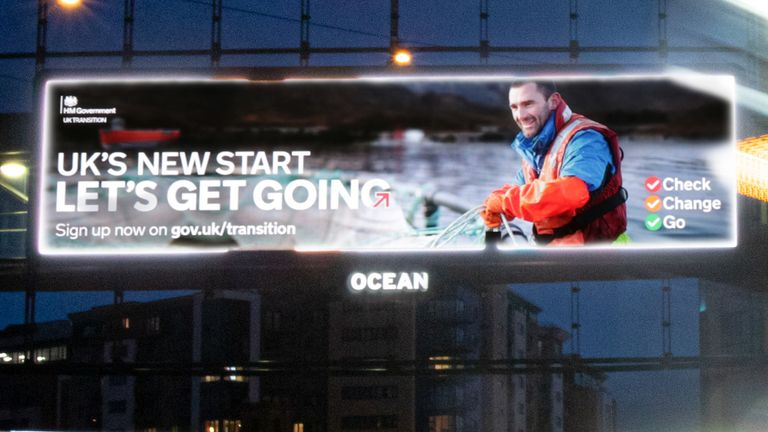 photo issued by the Cabinet Office of an example campaign billboard in Newcastle ahead of the Brexit transition period end