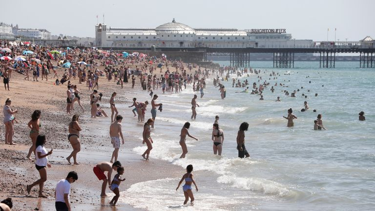 People across the UK flocked to beaches on the hottest day of the year