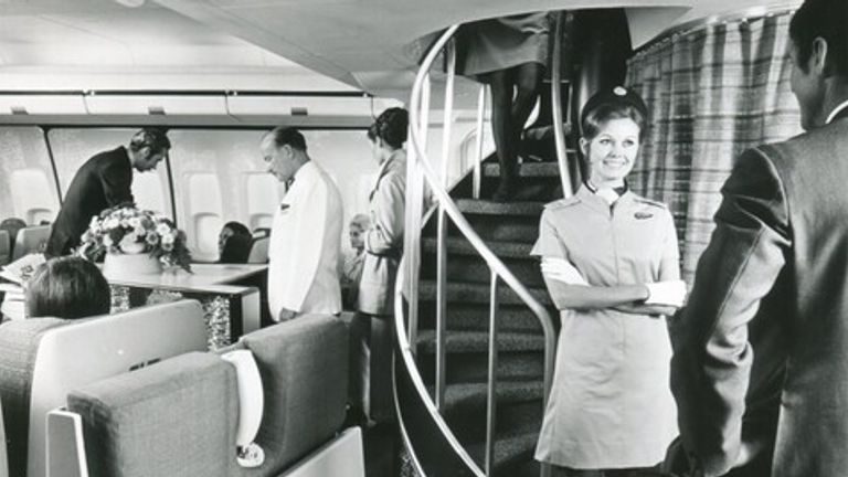 A first class cabin on one of the early 747s