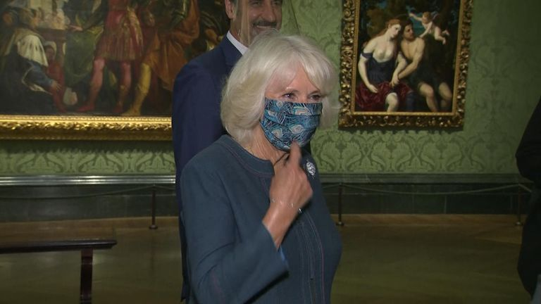 Camilla, Duchess of Cornwall was visiting the National Gallery in London, one of the first galleries to reopen with COVID-19 measures in place.