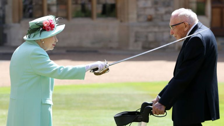 Captain Tom Moore was knighted by the Queen