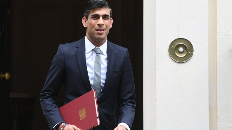 Chancellor of the Exchequer Rishi Sunak departs 11 Downing Street, in Westminster, London, to deliver a summer economic update at the Houses of Parliament.