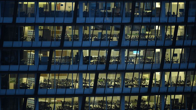The empty offices at Co-op headquarters are pictured in Manchester on April 9, 2020. - COVID-19 has struck at the heart of the British government, infected more than 60,000 people nationwide and killed over 7,000, with a daily death toll in the UK of 881 reported on April 9