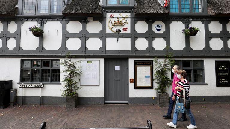 The Crown & Anchor pub in Stone, Staffordshire, which has had to close following a coronavirus outbreak
