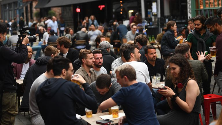 Absolute Madness This Is What England S First Night Out In Three Months Looks Like Uk News Sky News