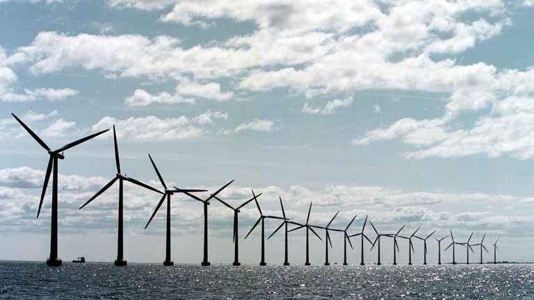 The world's largest offshore windmill farm, near Copenhagen, produces enough electricity to cover 3% of Copenhagen's power consumption