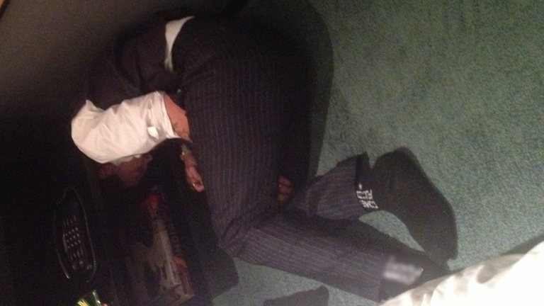 Image showing Depp collapsed and passed out on the floor