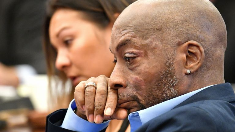 Plaintiff Dewayne Johnson listens as attorney Brent Wisner (out of frame) speaks about his condition during the Monsanto trial in San Francisco, California, U.S., July 09, 2018