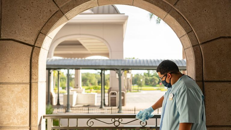 Enhanced cleaning measures are in place in Disney World