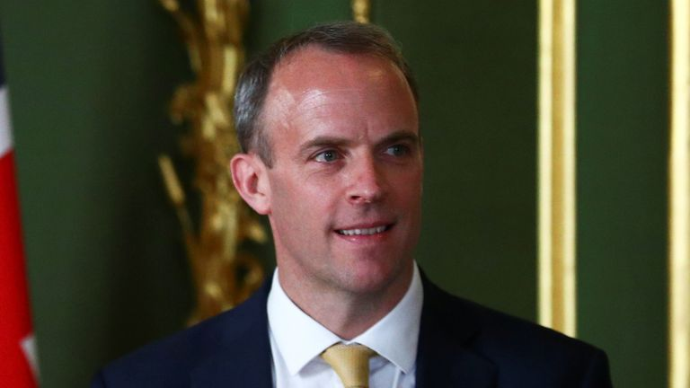 Foreign Secretary Dominic Raab during a press conference at Lancaster House in central London