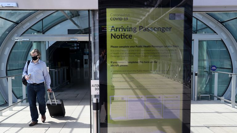 A notice for arriving passengers regarding the Covid-19 Passenger Locator Form at Terminal 2 in Dublin Airport