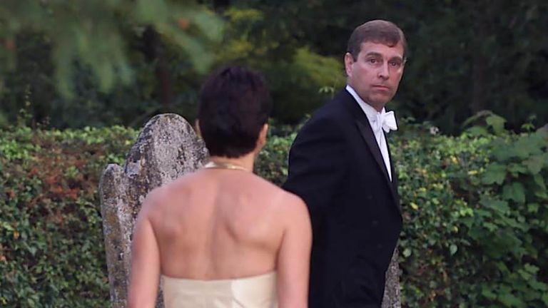 Ghislaine Maxwell and the Duke of York leaving the wedding of a former girlfriend of the Duke, Aurelia Cecil, in 2000