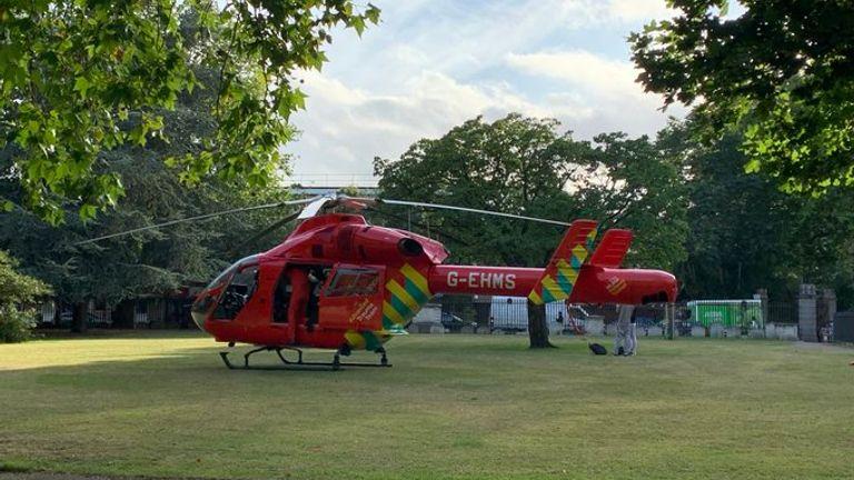 An air ambulance was at the scene. Pic: Paul Michael Woodman