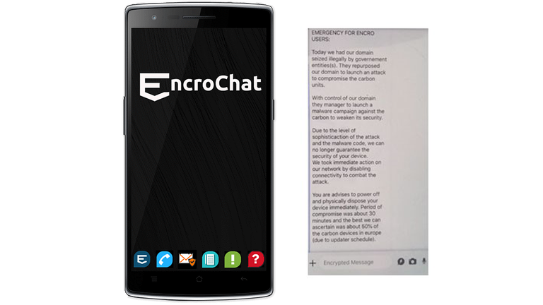 EncroChat, an encrypted phone network widely used by criminal networks. Pic: Europol