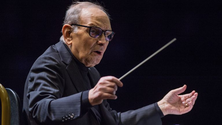 LONDON, ENGLAND - FEBRUARY 16: Ennio Morricone Performs at The O2 Arena on February 16, 2016 in London, England. (Photo by Brian Rasic/WireImage)