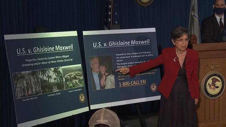 "Federal prosecutors hold a news conference to announce charges against Ghislaine Maxwell ""for her role in the sexual exploitation and abuse of multiple minor girls by Jeffrey Epstein"