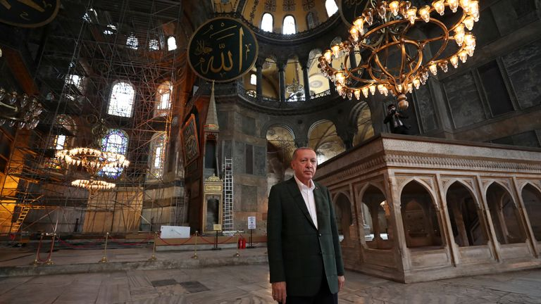 President Erdogan stands in the newly-reconverted Hagia Sophia mosque Pic: Turkey's Presidential Press Office
